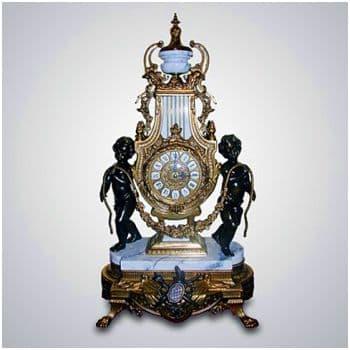 Каминные часы бронзовые Дети белый мрамор. Высота 60 см. Италия